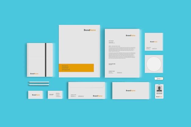 Maquette de papeterie pour l'image de marque de l'entreprise, vue de dessus
