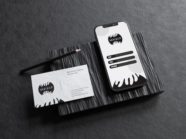 Maquette de papeterie réaliste avec écran de téléphone portable