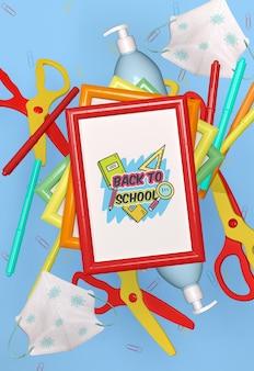 Maquette de papeterie de retour à l'école