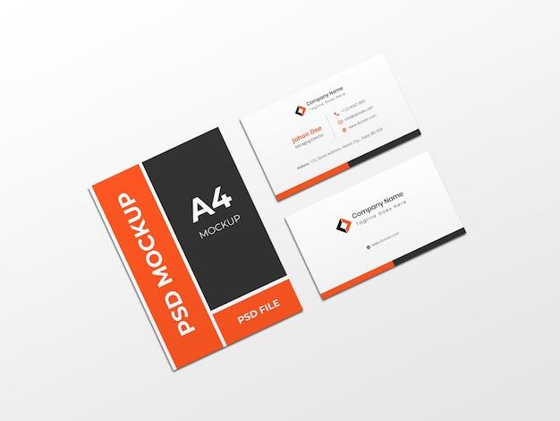 Maquette de papier a4 stationnaire pour carte de visite