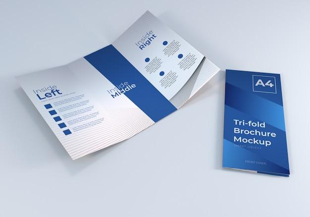 Maquette de papier brochure réaliste à trois volets a4