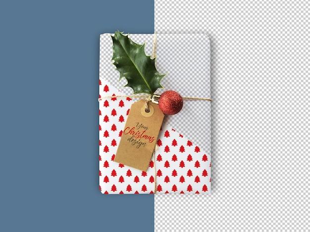 Maquette de papier d'emballage avec boule et feuille