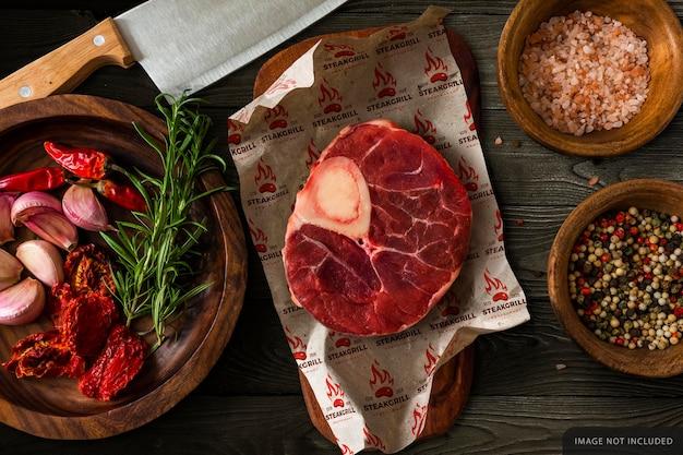 Maquette de papier d'emballage de viande crue