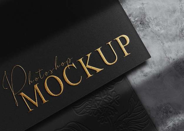Maquette de papier gaufré en or de luxe