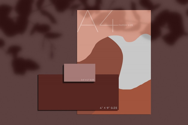 Maquette de papier de papeterie de bureau avec superposition d'ombre. modèle d'identité de marque