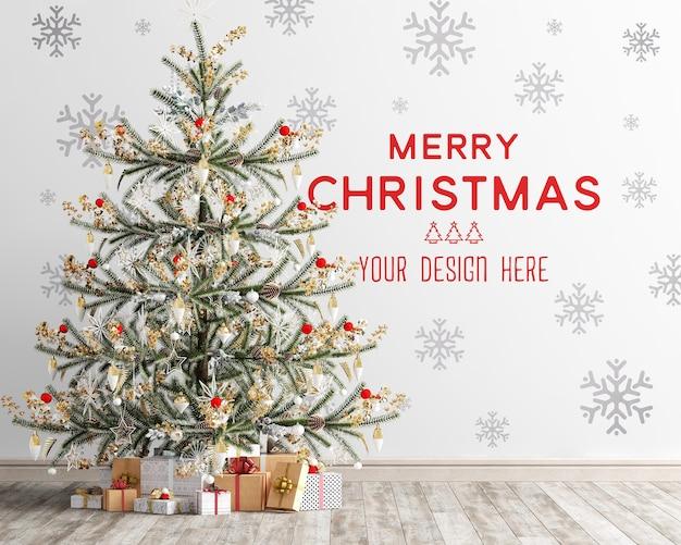 Maquette de papier peint avec arbre de noël et coffrets cadeaux