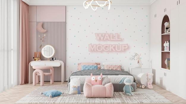 Maquette de papier peint intérieur pour chambre d'enfant psd premium