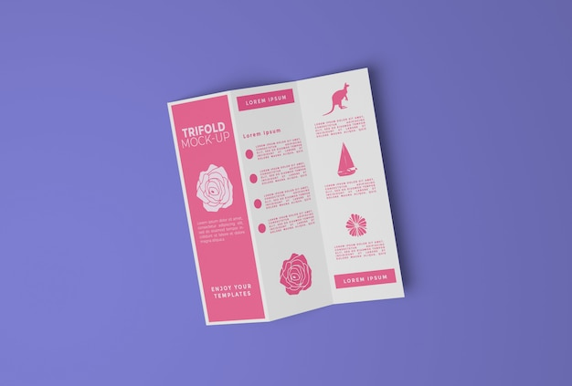 Maquette en papier à trois volets flyer psd premium