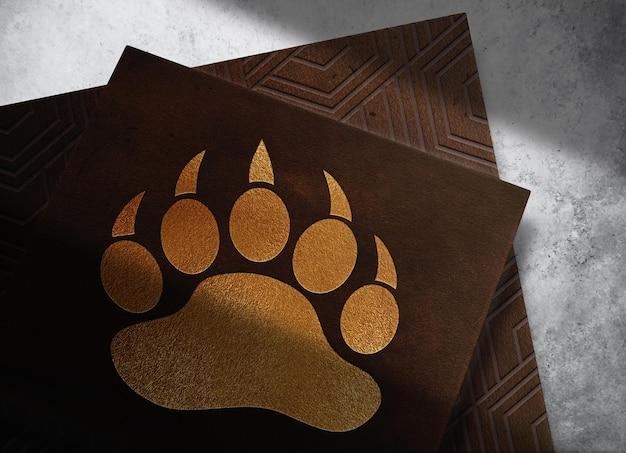 Maquette de papiers gaufrés en cuir de luxe avec fond en béton