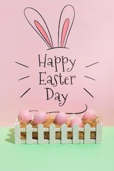 Maquette de pâques avec fond pour texte ou logo