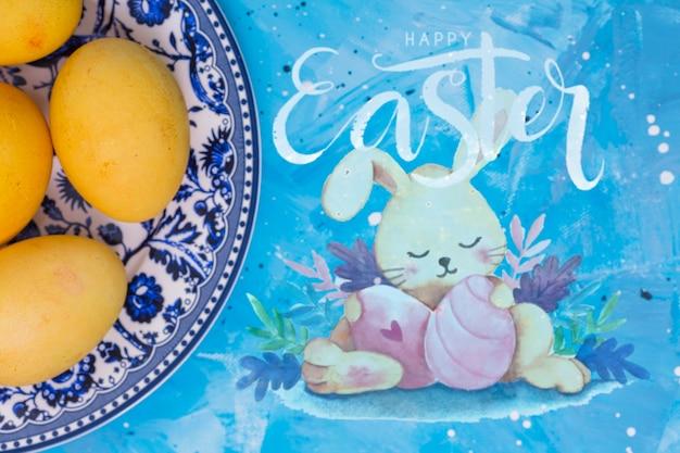 Maquette de pâques avec un lapin