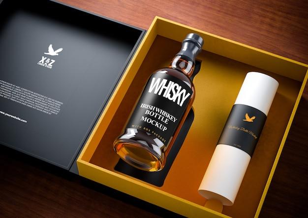 Maquette de paquet de bouteille de whisky en verre transparent