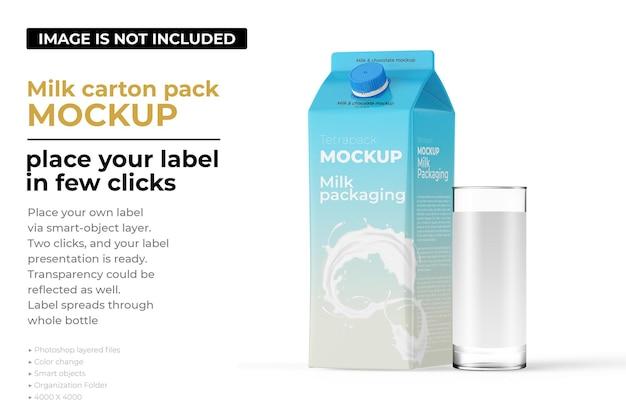 Maquette de paquet de carton de lait