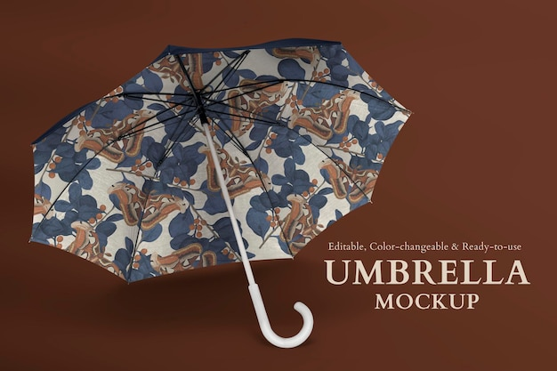 Maquette de parapluie réaliste psd avec motif papillon vintage