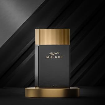 Maquette de parfum de luxe noir sur fond noir pour le rendu 3d de la marque de logo