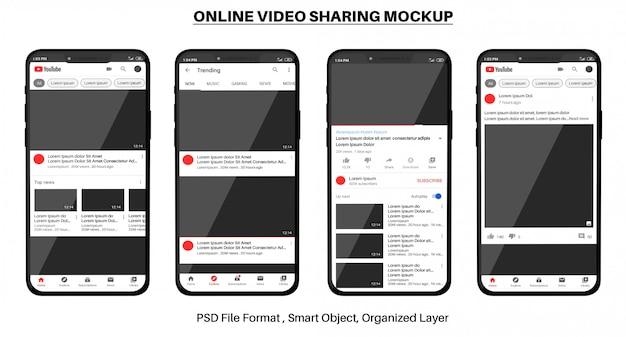 Maquette de partage de vidéos en ligne youtube sur smartphone