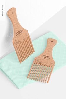 Maquette de peignes à cheveux en bambou, penchée et abandonnée