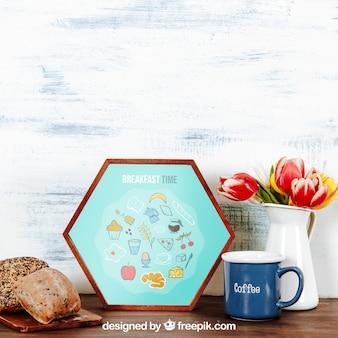 Maquette de petit déjeuner avec cadre hexagonal