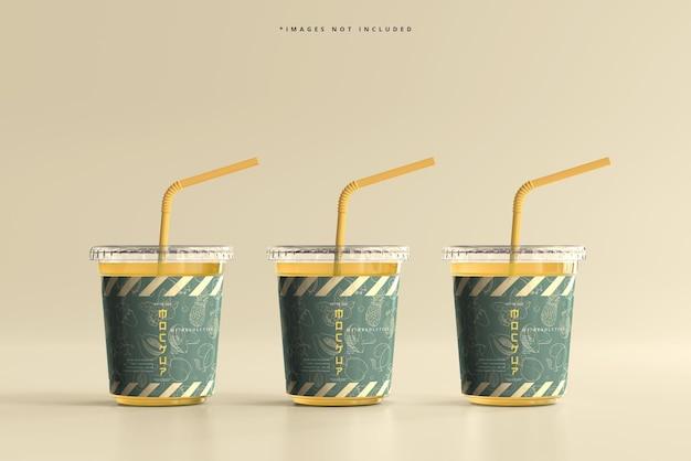 Maquette de petite tasse en plastique à couvercle plat