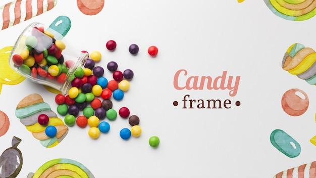 Maquette de petits bonbons sur table