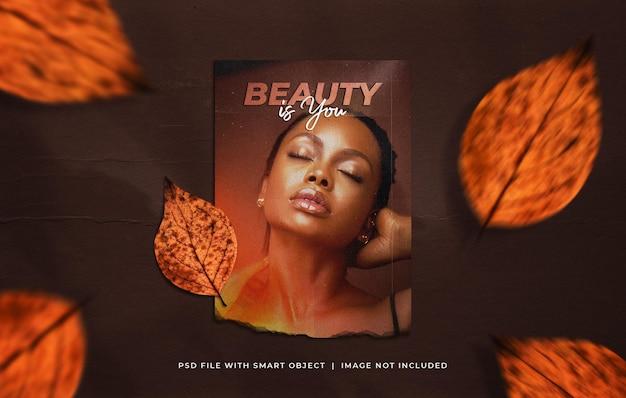 Maquette de photo d'affiche déchirée a4 avec des feuilles d'automne qui tombent