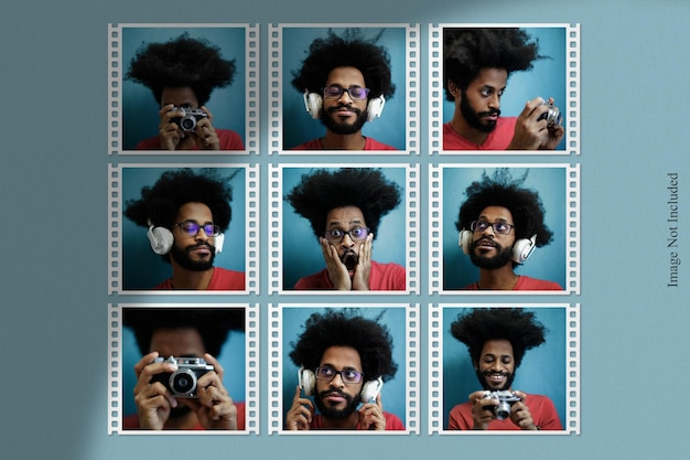 Maquette de photo de bande de film avec superposition d'ombres