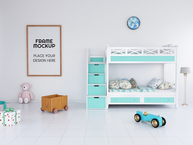 Maquette de photo de cadre de chambre d'enfants intérieur