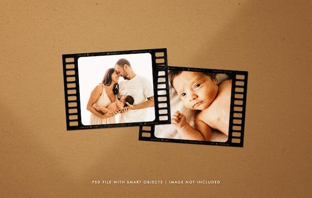 Maquette de photo de cadre de film de portrait de famille