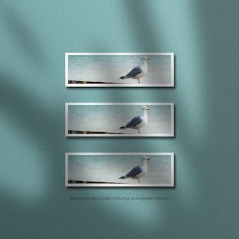 Maquette de photo de cadre en papier avec ombre