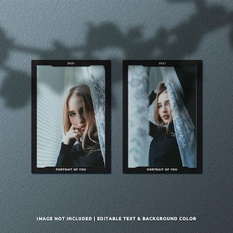 Maquette de photo de cadre de papier de portrait jumeau