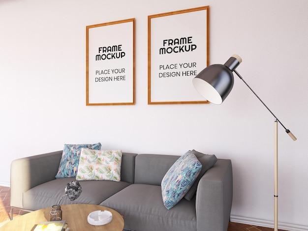 Maquette de photo de cadre de salon intérieur
