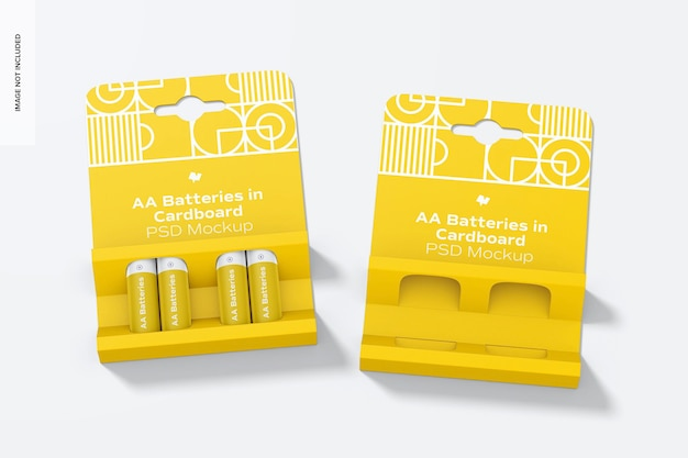 Maquette de piles aa dans des cartons