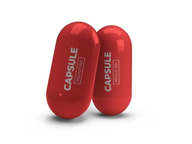 Maquette de pilule de capsule de médecine isolée