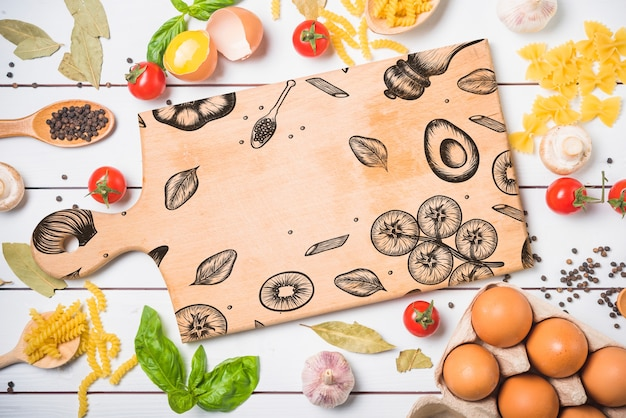 Maquette de planche de bois avec concept de cuisine saine