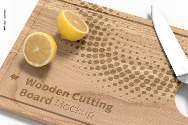 Maquette de planche à découper en bois, gros plan