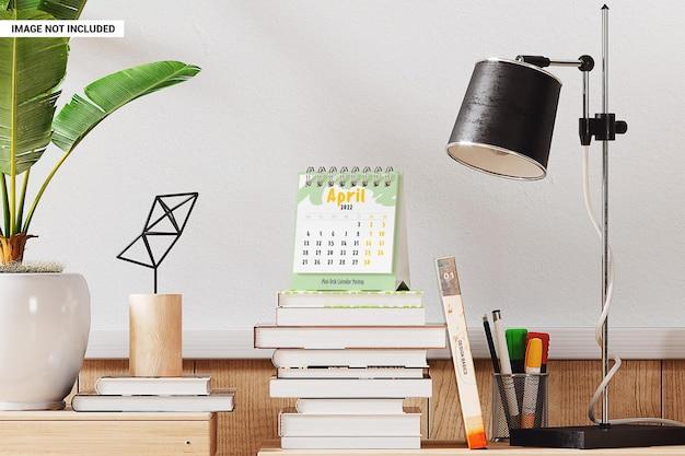 Maquette de planificateur d'horaire quotidien de calendrier de bureau portable
