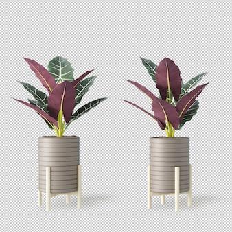 Maquette de plantes de rendu 3d en pots