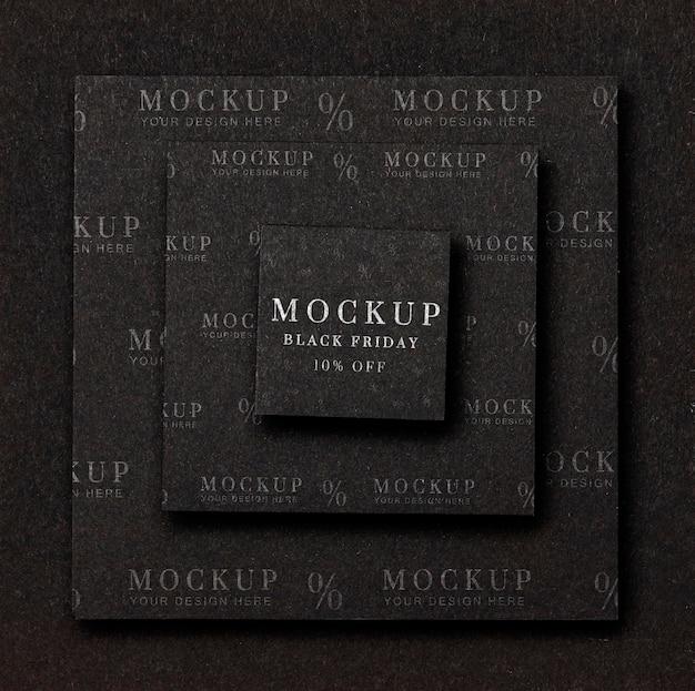 Maquette à plat le vendredi noir couches de formes carrées