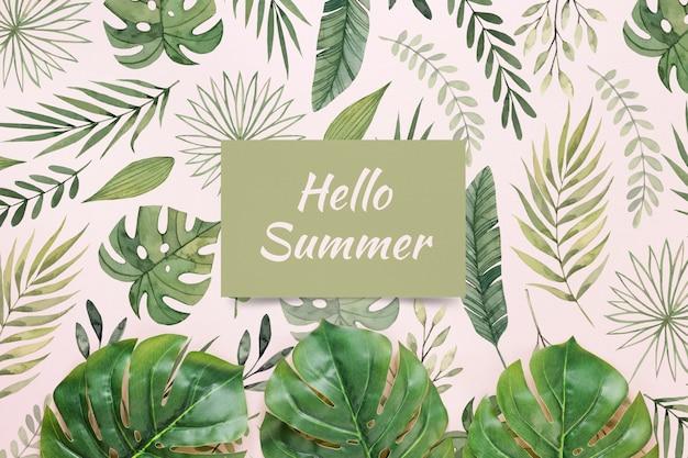 Maquette plate en papier ou en carte avec éléments d'été