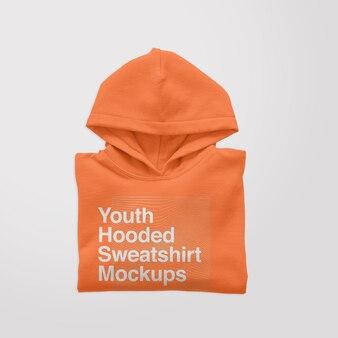 Maquette pliée de sweat à capuche pour jeunes
