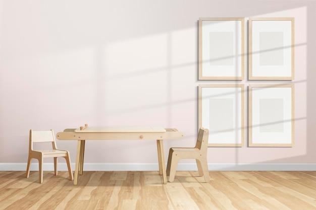 Maquette png de mur de galerie suspendue dans une chambre d'enfant scandinave