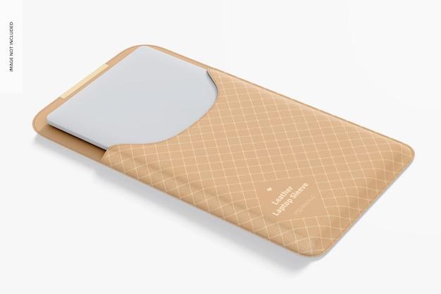Maquette de pochette pour ordinateur portable en cuir, ouverte