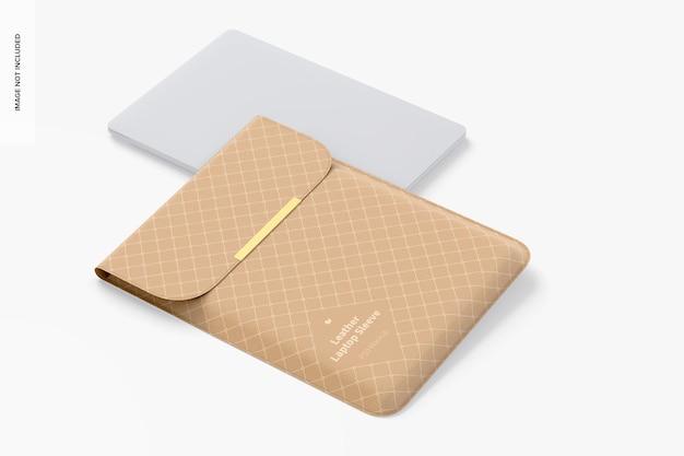 Maquette de pochette pour ordinateur portable en cuir, perspective
