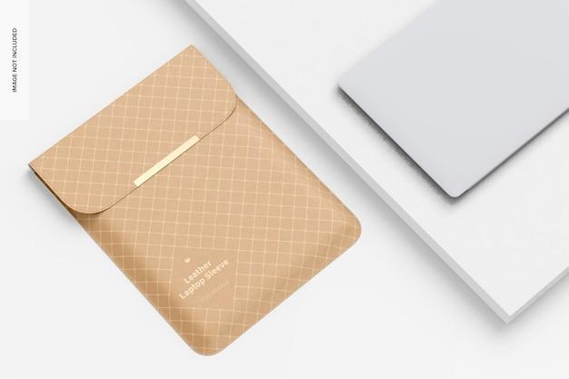 Maquette de pochette pour ordinateur portable en cuir, vue de dessus