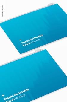 Maquette de pochette refermable en plastique, gros plan