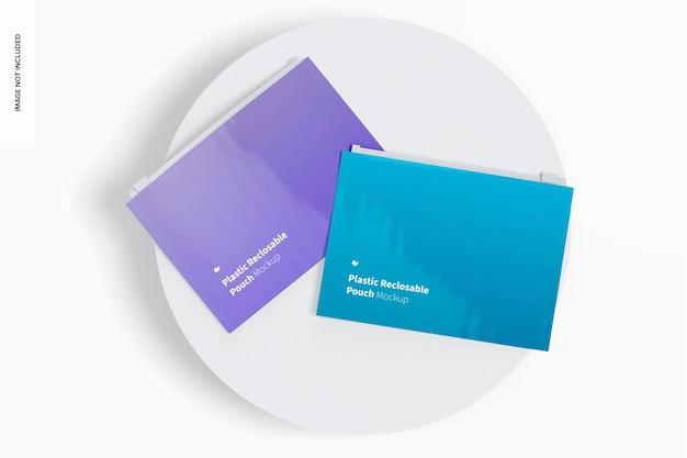 Maquette de pochette refermable en plastique, vue de dessus