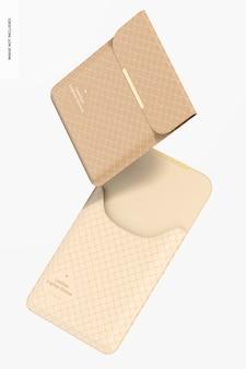 Maquette de pochettes pour ordinateur portable en cuir, flottant