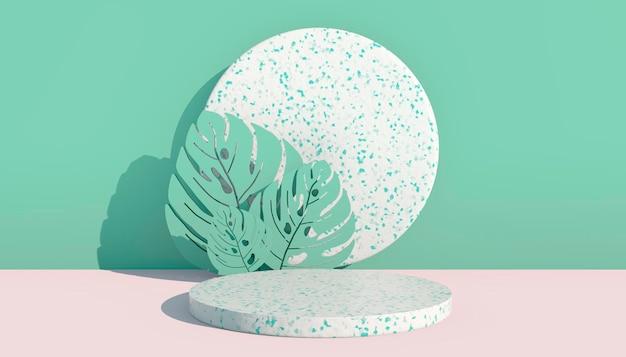 Maquette, podium, affichage avec des feuilles de monstera fond de plantes tropicales, rendu 3d