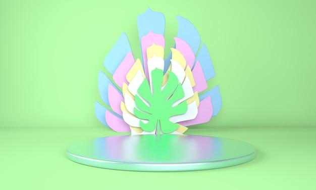 Maquette de podium avec des feuilles de monstera en rendu 3d
