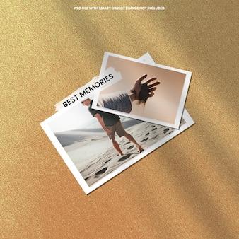Maquette polaroid de cadre photo marron réaliste psd premium